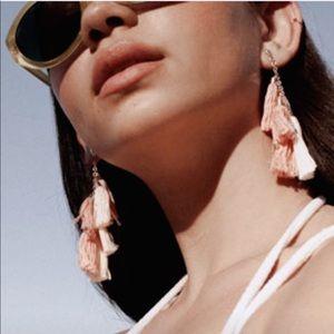 Ettika Daydreamer Tassel Earrings Peach/Gold